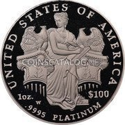USA $100 One hundred Dollars Platinum American Eagle 2006 W Proof KM# 392 UNITED STATES OF AMERICA 1 OZ. .9995 PLATINUM $100 W coin reverse