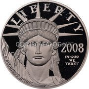 USA $100 One hundred Dollars Platinum American Eagle 2008 W Proof KM# 437 LIBERTY 2008 IN GOD WE TRUST E PLURIBUS UNUM coin obverse