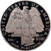 USA $100 One hundred Dollars Platinum American Eagle 2008 W Proof KM# 437 UNITED STATES OF AMERICA 1 OZ. .9995 PLATINUM $100 coin reverse