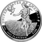 USA $100 One hundred Dollars Platinum American Eagle 2011 W Proof KM# 518 UNITED STATES OF AMERICA 1oz. .9995 PLATINUM $100 W coin reverse