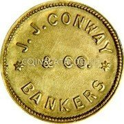 USA $2-1/2 Two and half Dollars (1861) KM# 71 J. J. Conway * J.J. CONWAY * & CO. BANKERS coin obverse