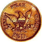 USA $2-1/2 Two and half Dollars (1861) KM# 74 John Parsons PIKES PEAK GOLD 2 1/2 D. coin reverse