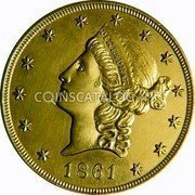 USA $20 Twenty Dollars Liberty Double Eagle 1861 KM# 70 PIKESPRAK coin obverse