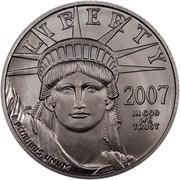 USA $25 American Eagle 2007 W Frosted Freedom, Rare KM# 415 LIBERTY 2007 IN GOD WE TRUST E PLURIBUS UNUM coin obverse