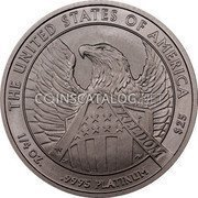 USA $25 Twenty five Dollars American Eagle 2007 W Frosted Freedom, Rare KM# 415 THE UNITED STATES OF AMERICA FREEDOM 1/4 OZ. .9995 PLATINUM $25 coin reverse