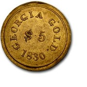 USA $5 1830 KM# 80 Templeton Reid (Georgia) TEMPLETON REID ASSAYER. $5 coin reverse