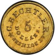 USA 5 Dollars 18XX KM# 77 Christopher Bechtler (Georgia) C. BECHTLER. AT RUTHERF * 5 DOLLARS coin obverse