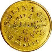 USA $5 Five Dollars 1834 KM# 96.1 Christopher Bechtler (North Carolina) CAROLINA GOLD. 20 CARATS AUGUST 1.1834 140. G. coin reverse