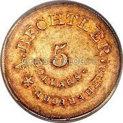 USA $5 Five Dollars (1842-52) KM# 84 August Bechtler A. BECHTLER. RUTHERFORD * 5 DOLLARS coin obverse