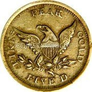 USA $5 Five Dollars (1861) KM# 75 John Parsons PIKES PEAK GOLD FIVE D. coin reverse