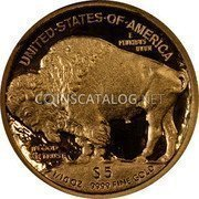 USA $5 Five Dollars American Buffalo 2008 W Proof KM# 411 UNITED·STATES·OF·AMERICA E PLURIBUS UNUM $5 1/10 OZ. .9999 FINE GOLD IN GOD WE TRUST coin reverse