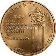 USA $5 Five Dollars (Half eagle) Capitol Visitor Center 2001 W KM# 326 LIBERTY 1800 FIRST CONVENING OF CONGRESS IN WASHINGTON IN GOD WE TRUST coin obverse