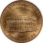 USA $5 Five Dollars (Half eagle) Capitol Visitor Center 2001 W KM# 326 UNITED STATES OF AMERICA • FIVE DOLLARS • E PLURIBUS UNUM coin reverse