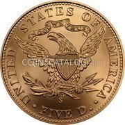 USA $5 Five Dollars (Half eagle) San Francisco Old Mint Centennial 2006 S KM# 395 UNITED STATES OF AMERICA • FIVE D. • IN GOD WE TRUST coin reverse