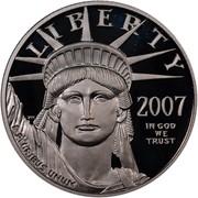 USA $50 American Eagle 2007 W Reverse Proof KM# 416 LIBERTY 2007 IN GOD WE TRUST E PLURIBUS UNUM coin obverse
