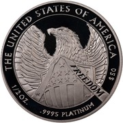 USA $50 American Eagle 2007 W Reverse Proof KM# 416 THE UNITED STATES OF AMERICA 1/2 OZ. .9995 PLATINUM $50 coin reverse
