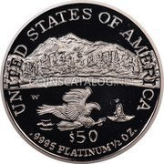 USA $50 Fifty Dollars Platinum American Eagle 2002 W Proof KM# 341 UNITED STATES OF AMERICA .9995 PLATINUM 1/2 OZ. $50 W coin reverse