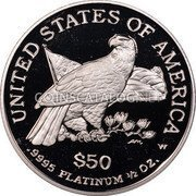 USA $50 Fifty Dollars Platinum American Eagle 2003 W Proof KM# 353 UNITED STATES OF AMERICA .9995 PLATINUM 1/2 OZ. $50 W coin reverse