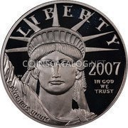 USA $50 Fifty Dollars Platinum American Eagle 2007 W Reverse Proof KM# 416 LIBERTY 2007 IN GOD WE TRUST E PLURIBUS UNUM coin obverse