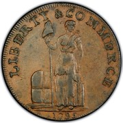 USA Cent 1795 Lettered edge KM# Tn72.5 Talbot, Allum and Lee Tokens LIBERTY & COMMERCE coin obverse