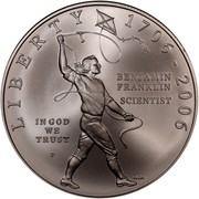 USA Dollar Benjamin Franklin, 300th birth Anniversary 2006 P KM# 387 LIBERTY IN GOD WE TRUST BENJAMIN FRANKLIN SCIENTIST 1706-2006 P NEN coin obverse