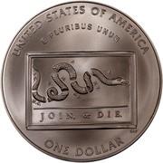 USA Dollar Benjamin Franklin, 300th birth Anniversary 2006 P KM# 387 UNITED STATES OF AMERICA E PLURIBUS UNUM S.CN.C.V.M.P.N.J.N.Y.N.E. JOIN, or DIE. CLV ONE DOLLAR coin reverse