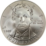 USA Dollar Louis Braille Birth Bicentennial 2009 P KM# 455 LIBERTY LOUIS BRAILLE IN GOD WE TRUST 1809 2009 P coin obverse