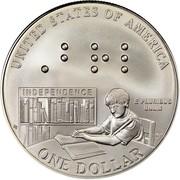 USA Dollar Louis Braille Birth Bicentennial 2009 P KM# 455 UNITED STATES OF AMERICA ONE DOLLAR E PLURIBUS UNUM INDEPENDENCE coin reverse