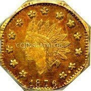 USA Dollar (Octagonal) 1876 KM# 14.3 Small size Gold Coins 1876 coin obverse