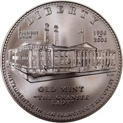 """USA Dollar San Francisco Mint Museum 2006 S KM# 394 LIBERTY INSTRUMENTAL IN SAN FRANCISCO'S RECOVERY E PLURIBUS UNUM OLD MINT """"THE GRANITE LADY"""" 1906-2006 coin obverse"""