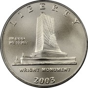 USA Half Dollar First Flight Centennial 2003 P KM# 348 LIBERTY IN GOD WE TRUST WRIGHT MONUMENT coin obverse