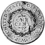 USA One Cent 1792 KM# PnJ1 Issues of 1792 UNITED STATES OF AMERICA. G*W.P.t ONE CENT coin reverse