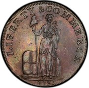 USA One Cent 1795 KM# Tn72.3 Talbot, Allum and Lee Tokens LIBERTY & COMMERCE coin obverse