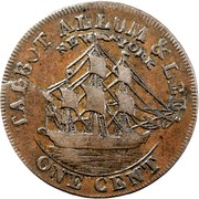 USA One Cent 1795 KM# Tn72.4 Talbot, Allum and Lee Tokens TALBOT ALLUM & LEE. NEW YORK ONE CENT coin reverse