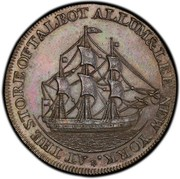 USA One Cent 1795 KM# Tn72.3 Talbot, Allum and Lee Tokens * AT THE STORE OF TALBOT ALLUM & LEE NEW YORK . coin reverse