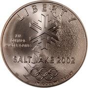 USA One Dollar 2002 Winner Olympics - Salt Lake City 2002 P KM# 336 LIBERTY IN GOD WE TRUST SALTLAKE 2002 XIX OLYMPIC WINTER GAMES coin obverse