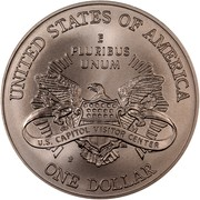 USA One Dollar Capitol Visitor Center 2001 P KM# 324 UNITED STATES OF AMERICA E PLURIBUS UNUM ONE DOLLAR coin reverse