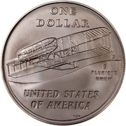 USA One Dollar First Flight Centennial 2003 P KM# 349 ONE DOLLAR P E PLURIBUS UNUM UNITED STATES OF AMERICA NEN coin reverse