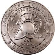 USA One Dollar U. S. Military Academy at West Point - Bicentennial 2002 W KM# 338 1802 WEST POINT 2002 UNITED STATES OF AMERICA E PLURIBUS UNUM W JM ONE DOLLAR * BICENTENNIAL * coin reverse
