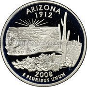 USA Quarter Dollar Arizona 2008 KM# 423a ARIZONA 1912 E PLURIBUS UNUM GRAND CANYON STATE coin reverse
