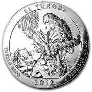USA Quarter Dollar El Yunque National Park, Puerto Rico 2012 KM# 536 EL YUNQUE PUERTO RICO 2012 E PLURIBUS UNUM coin reverse