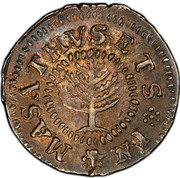 USA Shilling Pine Tree 1652 KM# 17 MASATHVSETS IN coin obverse