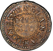 USA Shilling Pine Tree 1652 KM# 17 ∙ DO ∙ NEW ENGLAND ∙ AN ∙ XII coin reverse