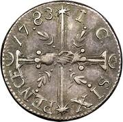 USA Six Pence 1783 KM# Tn46.2 John Chalmers SIX PENCE 17.83. I. C. coin reverse