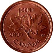 Canada 1 Cent Elizabeth II 4th portrait 2005 KM# 490 ELIZABETH II D∙G∙REGINA coin obverse