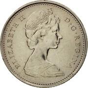 Canada 10 Cents Bluenose 1969 KM# 77.1 ELIZABETH II D ∙ G ∙ REGINA coin obverse