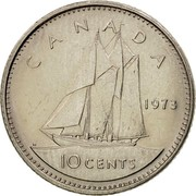 Canada 10 Cents Bluenose 1969 KM# 77.1 CANADA 1973 10 CENTS coin reverse