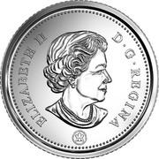 Canada 10 Cents Elizabeth II 4th portrait 2018 KM# 492 ELIZABETH II D ∙ G ∙ REGINA coin obverse