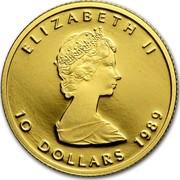 Canada 10 Dollars Maple Leaf 1989 KM# 136 ELIZABETH II 10 DOLLARS DATE coin obverse