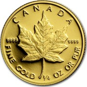 Canada 10 Dollars Maple Leaf 1989 KM# 136 CANADA 9999 9999 FINE GOLD 1/4 OZ OR PUR coin reverse